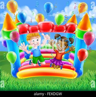 Zwei Kinder, einen jungen und Mädchen, Spaß springen auf eine Hüpfburg mit Luftballons und Luftschlangen - Stockfoto