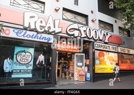 Echte Groovy Aufzeichnungen über Queen Street, Auckland, Nordinsel, Neuseeland, Pazifik, - Stockfoto