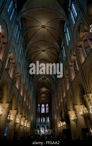 Innenraum der Kathedrale Notre Dame Paris, Ile de Paris, Frankreich Europa - Stockfoto