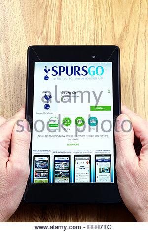Tottenham Hotspur FC-app auf einem android-Tablet PC, Dorset, England, UK - Stockfoto