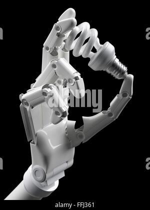 Glühbirne in Roboterhand isoliert auf schwarz - Stockfoto