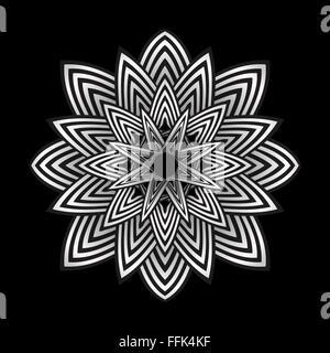 Vektor optische Kunst abstrakt Streifen Blume Dekoration isoliert schwarzen Hintergrund - Stockfoto
