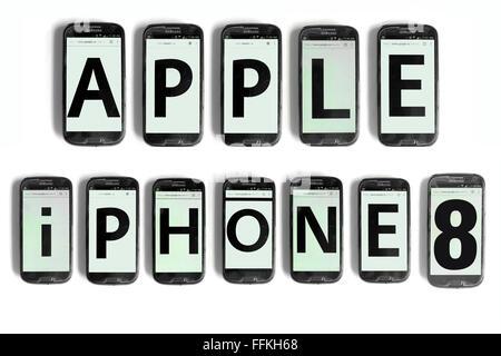 Apple iPhone8 geschrieben am Smartphone Bildschirme vor weißem Hintergrund fotografiert. - Stockfoto