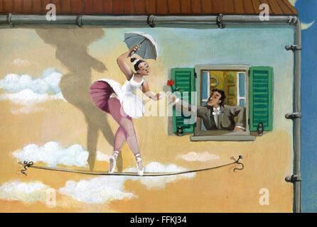 Ein Seiltänzer Spaziergänge umgeben von einer Mauer, die der Himmel wird in der Nähe von das Fenster eines Mannes, - Stockfoto