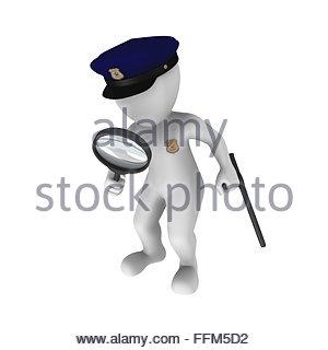 3D Polizist mit einer Lupe - Stockfoto