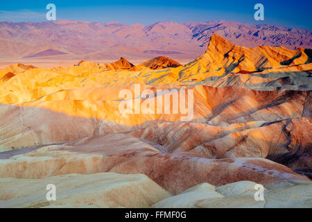 Sonnenaufgang am Zabriskie Point in Death Valley Nationalpark, Kalifornien - Stockfoto