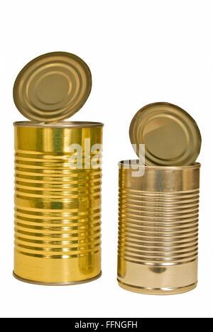 Zwei offene leere Metalldosen - Stockfoto