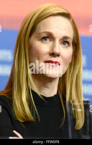 """Berlin, Deutschland. 16. Februar 2016. Laura Linney während der """"Genius"""" Pressekonferenz der 66. Berlin International - Stockfoto"""