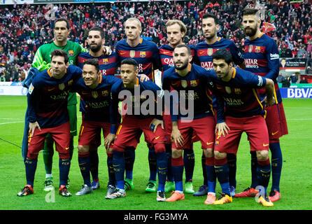 """Gijón, Spanien. 17. Februar 2016. Anfängliche Sie Team des FC Barcelona während Fußballspiel des spanischen """"La - Stockfoto"""