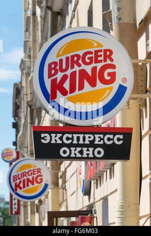 Burger King Schnellrestaurant, Newskij Prospekt, St. Petersburg, Nordwesten, Russische Föderation - Stockfoto