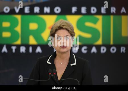 Brasilien-Präsidentin Dilma Rousseff während der Einführung des nationalen Export Plan am Präsidentenpalast 24. - Stockfoto