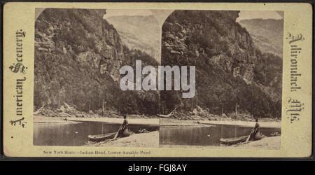 New York State. Indian Head, untere Ausable (Au Sable) Teich aus Robert N. Dennis Sammlung von stereoskopischen - Stockfoto