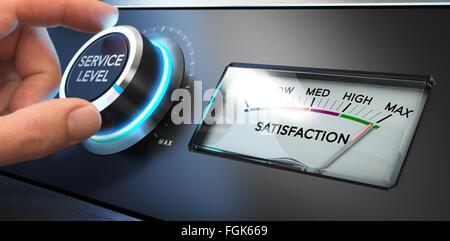 Hand einen Service-Level-Regler bis zum Maximum mit einem Zifferblatt drehen, wo es steht die Wort Zufriedenheit. - Stockfoto