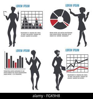 Business Frau mit Tabellen und Grafiken und Textbeispiele Silhouetten. Isoliert auf weiss. kostenlose Schriftart - Stockfoto