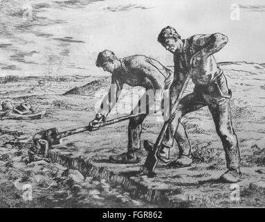 Landwirtschaft, Ackerbau, Felder, 'zwei Pik-Männer' nach Gemälde von Jean-Francois Millet (1814 - 1875), 1855 / 1856, Zeichnung, 19. Jahrhundert, Zusatzrechte-Clearences-nicht vorhanden