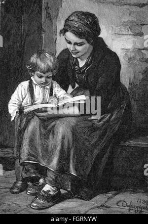 Pädagogik, Schule / Unterricht / Disziplin, 'der erste Leseunterricht', nach Malerei von Franz Defregger (1835  - Stockfoto