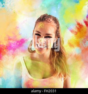 Freude farbigen Pulver - Stockfoto
