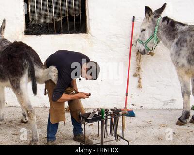 Schmied Neubaurahmen Hufeisen typische Esel Esel Taxi, weiße Dorf Mijas, Provinz Malaga Costa del Sol Andalusien - Stockfoto