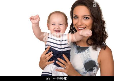 Portrait der glücklichen Mutter mit Baby Mädchen isoliert - Stockfoto