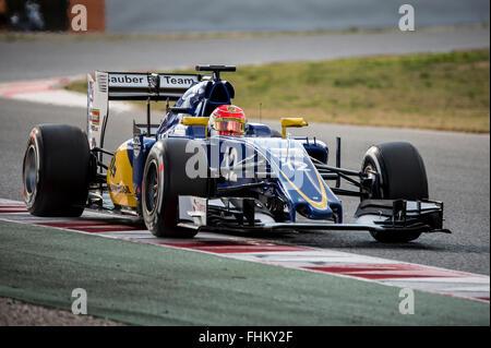 Montmelo, Spanien. 25. Februar 2016. Fahrer Felipe Nasr.  Sauber F1 Team. Formel 1 Testtage am Circuit de Catalunya. - Stockfoto