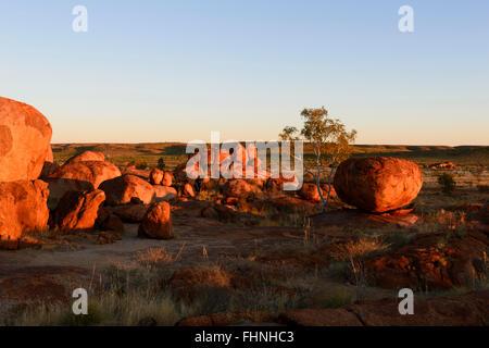 Red erodiert Granitblöcke, die bei Devil's Marbles, ein beliebtes Touristenziel, Northern Territory, NT, Australien - Stockfoto