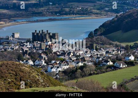 Die walisischen Conwy, befindet sich neben dem Fluss Conwy - Stockfoto