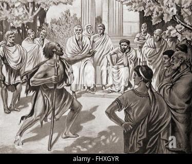 Diogenes Plato in der Akademie in Athen eine Herausforderung.  Diogenes von Sinope, aka Diogenes der Zyniker, c. - Stockfoto
