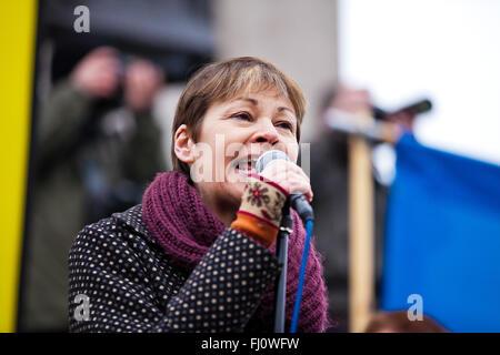 London, UK, Adressen 27. Februar 2016 - Caroline Lucas, grüne Partei Wartungstafel für Brighton Pavilion, die Kundgebung - Stockfoto