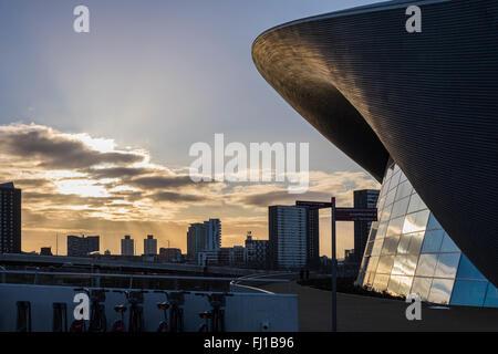Die London Aquatics Centre, Queen Elizabeth Olympic Park, Stratford, London, England, Vereinigtes Königreich - Stockfoto