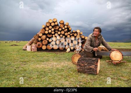 Mongolin Schneiden von Holz im Camp vor der Nacht - Stockfoto