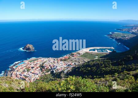 Blick von oben auf die Stadt Garachico, Teneriffa, Kanarische Inseln, Spanien - Stockfoto
