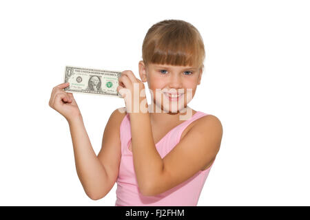Lächelndes Mädchen mit Geld in Händen isoliert - Stockfoto