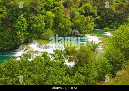 Skradinski Buk Wasserfall und Kaskaden, Kroatien Krka Nationalpark - Stockfoto