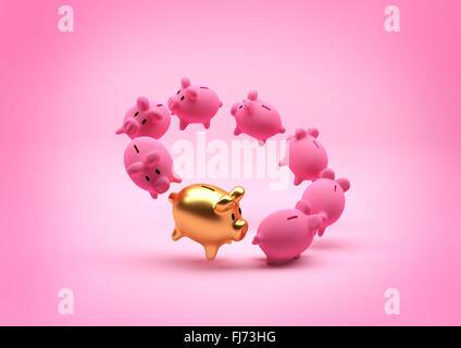 Einsparungen-Konzept - Sparschwein. Schwimmende Kreis Sparschweine - mit einem herausragenden gold ein. Abbildung. - Stockfoto