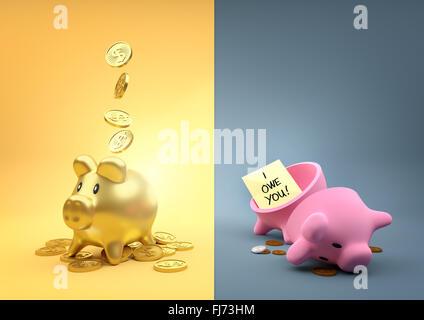 Anderes Vermögen. Zwei Spardosen Piggy - ein voller Gold die anderen leer außer ein paar Pfennige. - Stockfoto