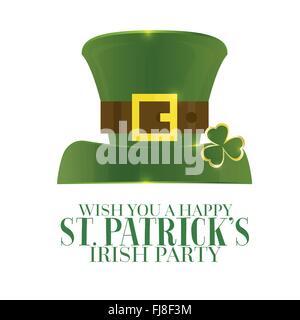 Typografische St. Patricks Tag Retro-Hintergrund mit grünen Hut. Vektor-Illustration. Vorlage für Party Flyer. - Stockfoto