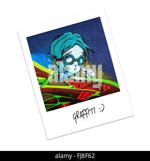 Polaroid-Foto von graffiti - Stockfoto