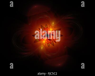 Leuchtende feurige Blume im Raum, generierte Computer abstrakten Hintergrund - Stockfoto
