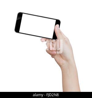 Hand hält schwarz Telefon isoliert auf weißem Beschneidungspfad in Bilddaten - Stockfoto