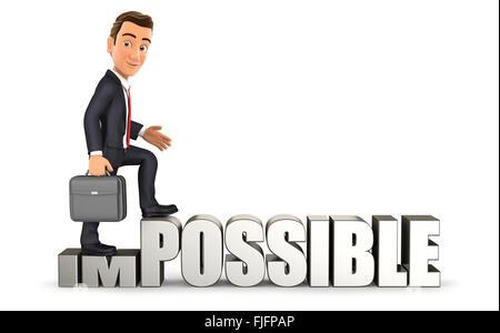 3D Geschäftsmann drehen unmöglich in möglich, isolierten weißen Hintergrund - Stockfoto
