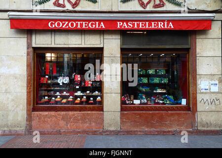 Gozotegia Pasteleria / Kuchen / Süßwaren shop in Bilbao, Baskenland, Spanien - Stockfoto