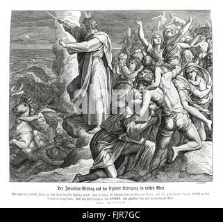"""Die Teilung des Roten Meeres, Exodus Kapitel XIV Verse 30-31 """"damit der Herr Israel gerettet, die täglich aus der - Stockfoto"""