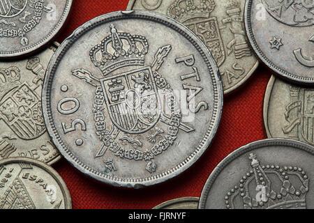 Münzen Von Spanien Wappen Von Spanien In Der Spanischen 100 Peseten