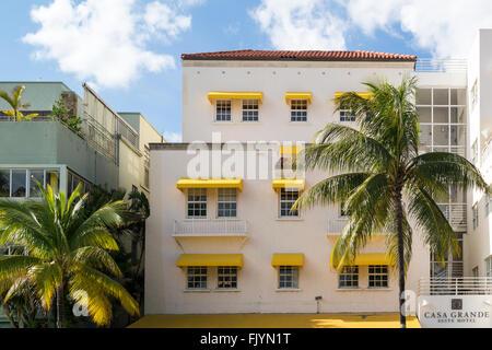 Fassade des Art-Deco-Hotel am Ocean Drive, Miami Beach, Florida, USA - Stockfoto