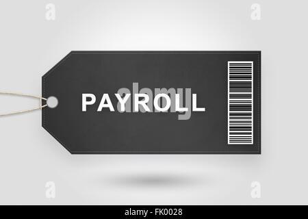 Lohn-und Gehaltsabrechnung Preisschild mit Barcode und grau radialen Farbverlauf Hintergrund - Stockfoto
