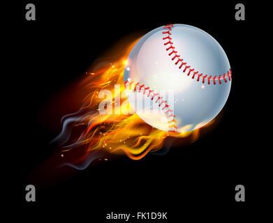 Einen brennenden Baseball Ball auf Feuer durch die Luft fliegen - Stockfoto