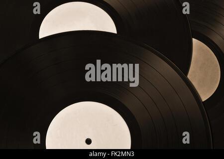Sammlung von Schallplatten. Vintage und Retro Hintergrund Sepia Themen