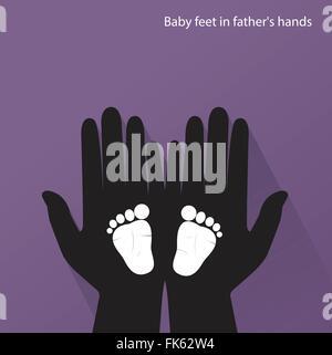 Baby Füße in Mutters Händen. Vektor-illustration - Stockfoto