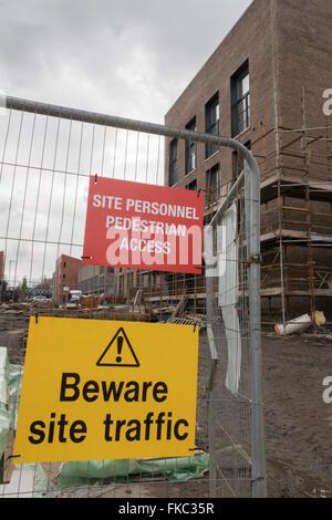 Bau Website Arbeitsschutz Signage, Baustelle, Vereinigtes Königreich - Stockfoto