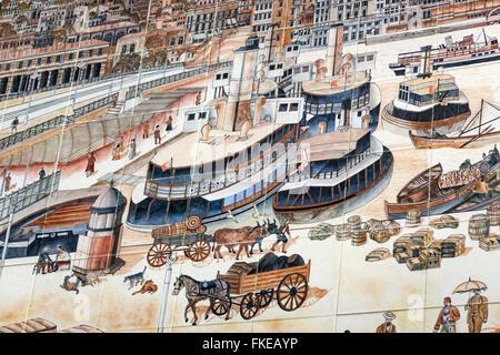 Keramische Wand-Fliesen-Panel, Bergstation der Tunel Karakoy Beyoglu Standseilbahn, Istanbul, Türkei - Stockfoto